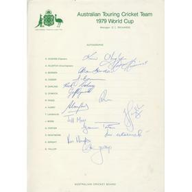 AUSTRALIA 1979 (WORLD CUP TEAM) OFFICIAL AUTOGRAPH SHEET