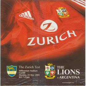 BRITISH ISLES V ARGENTINA 2005 RUGBY PROGRAMME