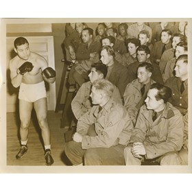 JOE LOUIS WORLD WAR 2 EXHIBITION BOUT PRESS PHOTOGRAPH