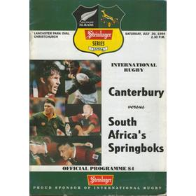 CANTERBURY V SOUTH AFRICA 1994 RUGBY PROGRAMME