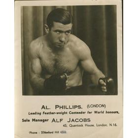 AL PHILLIPS (ENGLAND) BOXING PHOTOGRAPH