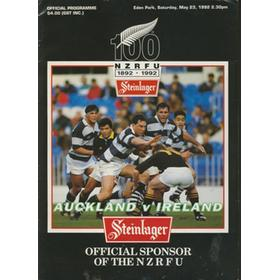 AUCKLAND V IRELAND 1992 RUGBY PROGRAMME