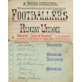 RUGBY AUTOGRAPHS (COUNTY & INTERNATIONAL) PRE-1914