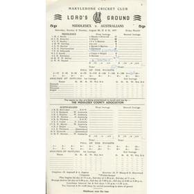 MIDDLESEX V AUSTRALIANS 1977 SCORECARD