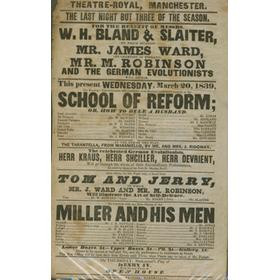 RARE PLAYBILL 1839 FEATURING JEM WARD, EX. CHAMPION OF ENGLAND