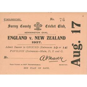 ENGLAND V NEW ZEALAND 1937 (THE OVAL) complimentary tickets
