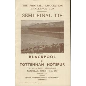 BLACKPOOL V TOTTENHAM HOTSPUR 1953 (F.A. CUP SEMI-FINAL) FOOTBALL PROGRAMME