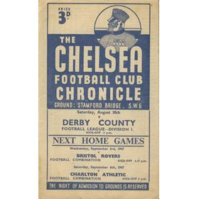 CHELSEA V DERBY COUNTY 1947 FOOTBALL PROGRAMME