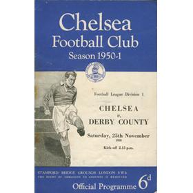 CHELSEA V DERBY COUNTY 1950 FOOTBALL PROGRAMME