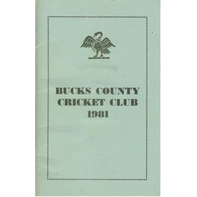 BUCKS COUNTY CRICKET CLUB 1981 OFFICIAL HANDBOOK