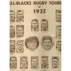 THE ALL BLACKS RUGBY TOURING TEAM OF 1935 RUGBY POSTER