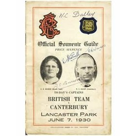 CANTERBURY V BRITISH LIONS 1930 SIGNED RUGBY PROGRAMME