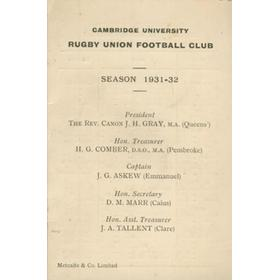 CAMBRIDGE UNIVERSITY RUGBY CLUB 1931-32 FIXTURE CARD