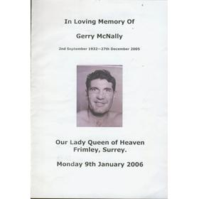 GERRY MCNALLY (GREAT BRITAIN) FUNERAL PROGRAMME 2006