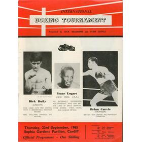 BRIAN CURVIS V ISAAC LOGART 1965 BOXING PROGRAMME