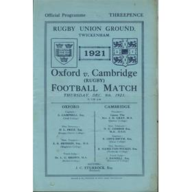 OXFORD V CAMBRIDGE 1921 RUGBY PROGRAMME