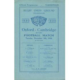 OXFORD V CAMBRIDGE 1930 RUGBY PROGRAMME