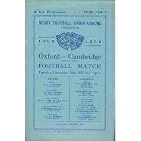 OXFORD V CAMBRIDGE 1935 RUGBY PROGRAMME