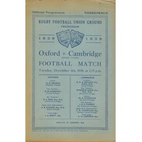 OXFORD V CAMBRIDGE 1938 RUGBY PROGRAMME