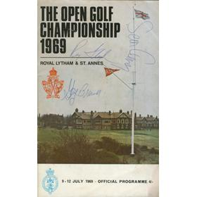 OPEN CHAMPIONSHIP 1969 (ROYAL LYTHAM & ST. ANNES) - SIGNED BY SEAN CONNERY, NICKLAUS, TREVINO  & 6 OTHERS