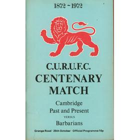 CAMBRIDGE PAST AND PRESENT V BARBARIANS 1972 RUGBY PROGRAMME
