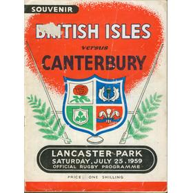 CANTERBURY V BRITISH ISLES 1959 RUGBY PROGRAMME