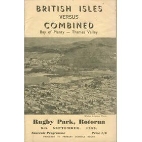 COMBINED (BAY OF PLENTY-THAMES VALLEY) V BRITISH ISLES 1959 RUGBY PROGRAMME