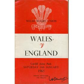 WALES V ENGLAND 1965 RUGBY PROGRAMME
