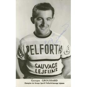 GEORGES GROUSSARD SIGNED CYCLING POSTCARD
