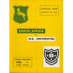 NEW ZEALAND UNIVERSITIES V SOUTH AFRICA 1956 RUGBY PROGRAMME