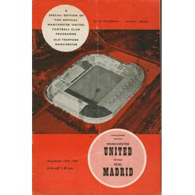 MANCHESTER UNITED V REAL MADRID 1961-62 FOOTBALL PROGRAMME