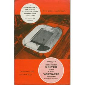 MANCHESTER UNITED V A.S.K. VORWARTS 1965-66 (EUROPEAN CUP) FOOTBALL PROGRAMME