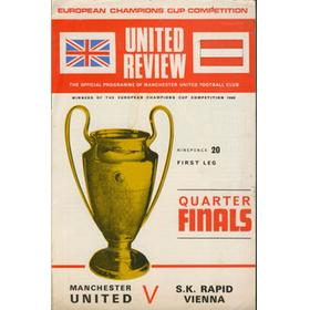MANCHESTER UNITED V RAPID VIENNA (EUROPEAN CUP) FOOTBALL PROGRAMME