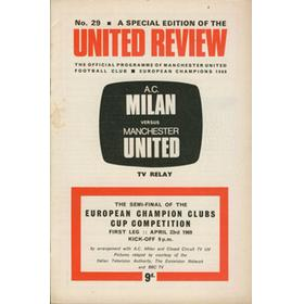 A.C. MILAN V MANCHESTER UNITED 1968-69 (UK CCTV EUROPEAN CUP) FOOTBALL PROGRAMME