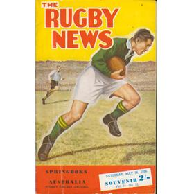 AUSTRALIA V SOUTH AFRICA 1956 (1ST TEST) RUGBY PROGRAMME