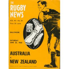 AUSTRALIA V NEW ZEALAND 1968 RUGBY PROGRAMME (BALLYMORE)