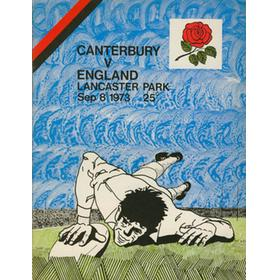 CANTERBURY V ENGLAND 1973 RUGBY PROGRAMME