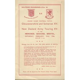 "GLOUCESTERSHIRE AND SOMERSET XV V NEW ZEALAND ARMY XV ""KIWIS"" 1945 RUGBY PROGRAMME"