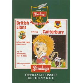 CANTERBURY V BRITISH ISLES 1993 RUGBY PROGRAMME