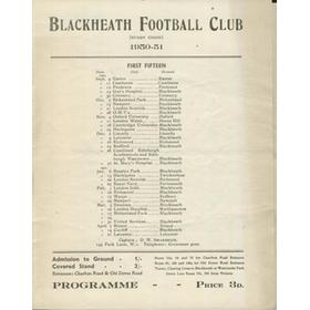 BLACKHEATH V LEICESTER 1950 RUGBY PROGRAMME