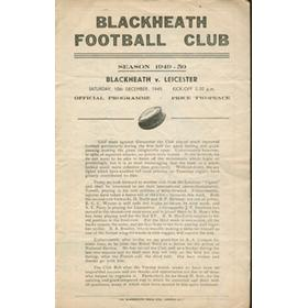 BLACKHEATH V LEICESTER 1949 RUGBY PROGRAMME
