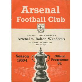 ARSENAL V BOLTON WANDERERS 1951 FOOTBALL PROGRAMME