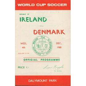 REPUBLIC OF IRELAND V DENMARK 1968 FOOTBALL PROGRAMME