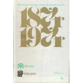 IRELAND V ENGLAND 1975 RUGBY PROGRAMME