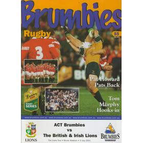 A.C.T. BRUMBIES V BRITISH ISLES 2001 RUGBY PROGRAMME