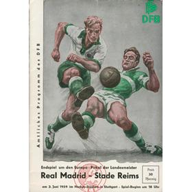 REAL MADRID V STADE REIMS 1959 (EUROPEAN CUP FINAL) FOOTBALL PROGRAMME