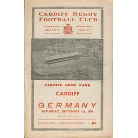 CARDIFF V GERMANY 1956 RUGBY PROGRAMME