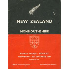 MONMOUTHSHIRE V NEW ZEALAND 1967 RUGBY PROGRAMME
