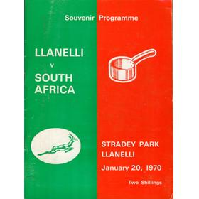 LLANELLI V SOUTH AFRICA 1969/70 RUGBY PROGRAMME