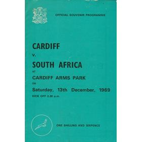 CARDIFF V SOUTH AFRICA 1969/70 RUGBY PROGRAMME